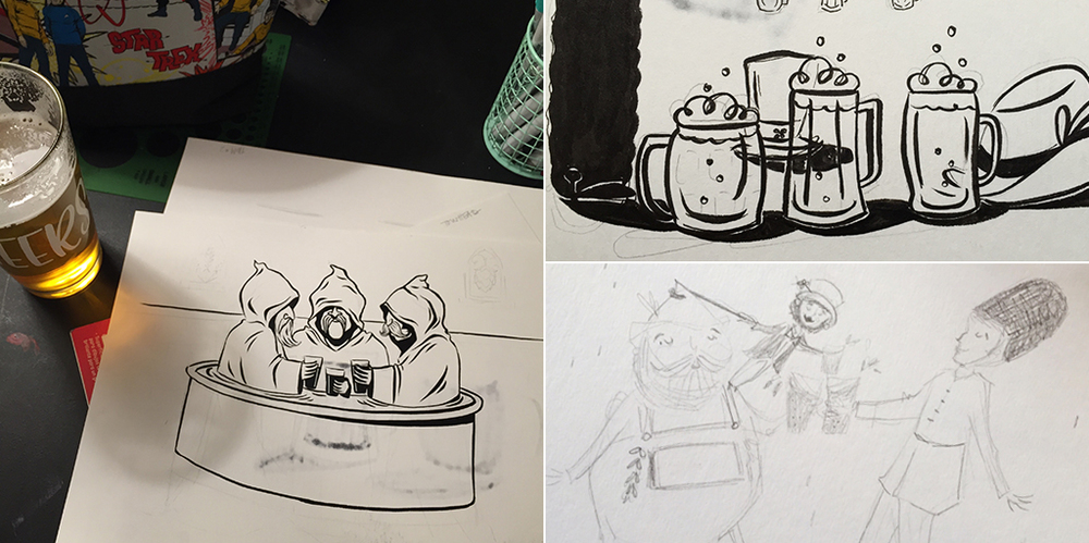 A few brainstorming sketches by local artist, Kendra Miller.