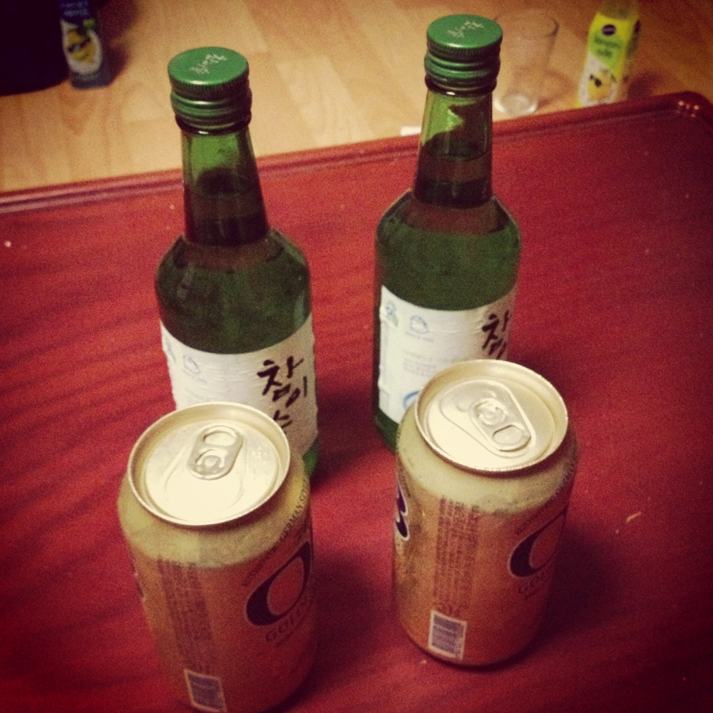 A couple of bottles of soju and beers - a typical after work drink between 2 or 3 of us. Enough to take the edge off, but nothing crazy.