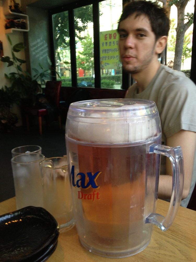 A large pitcher of beer to start the first night of drinking