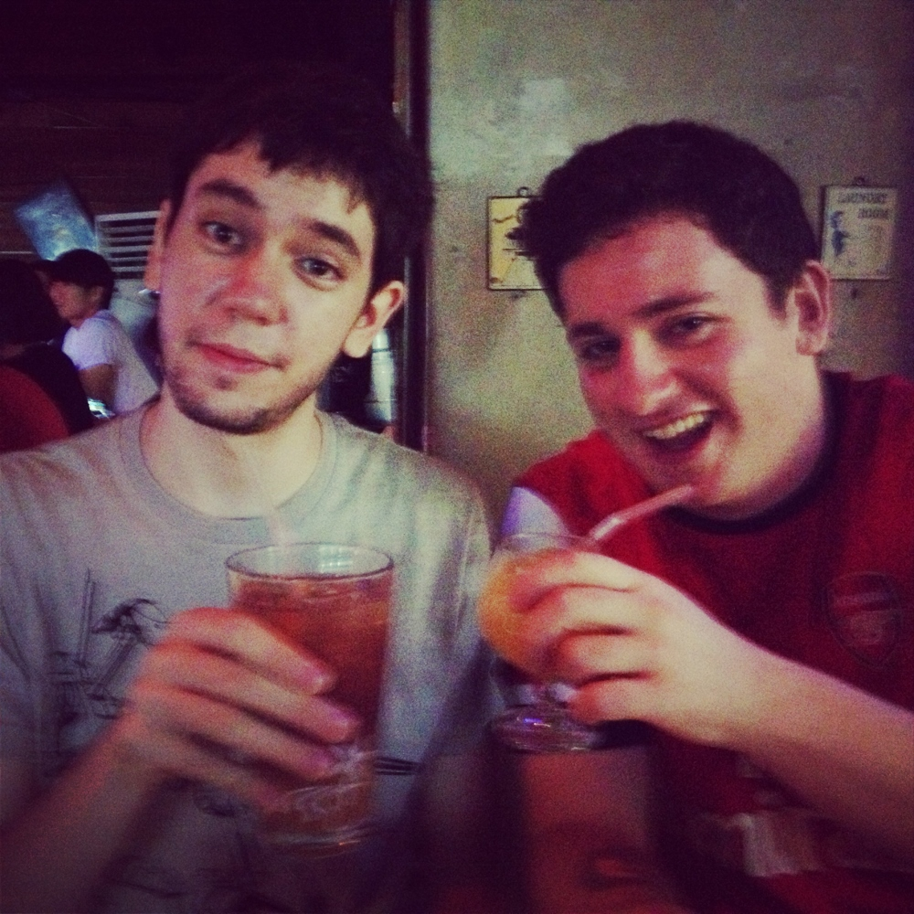 Chase and me drinking in Fuzzy Navel, Seomyeong