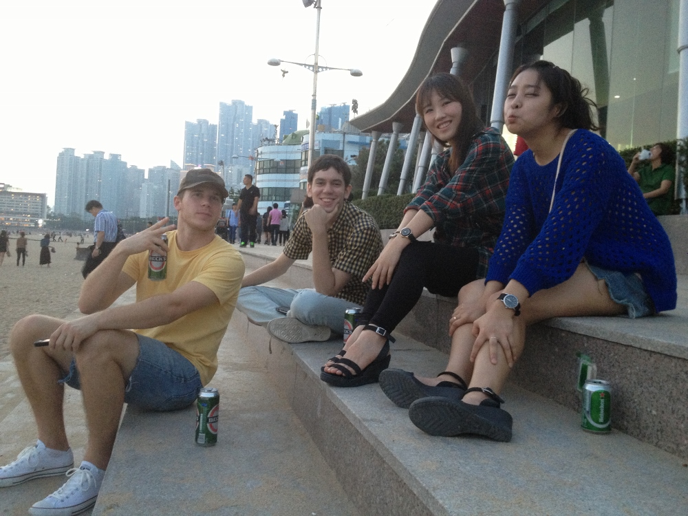 Craig, Chase, Yuree and April taking it easy on Haeundae Beach
