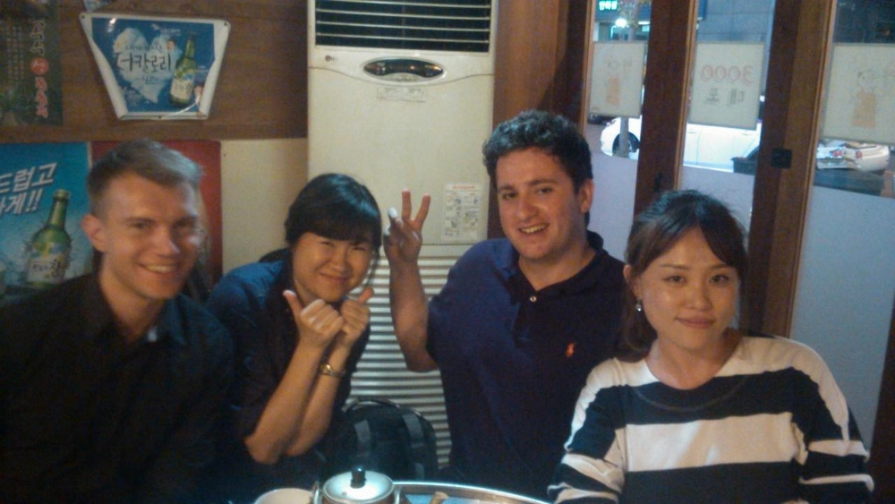 Ben, Monica, me and Celine in the makkoli place