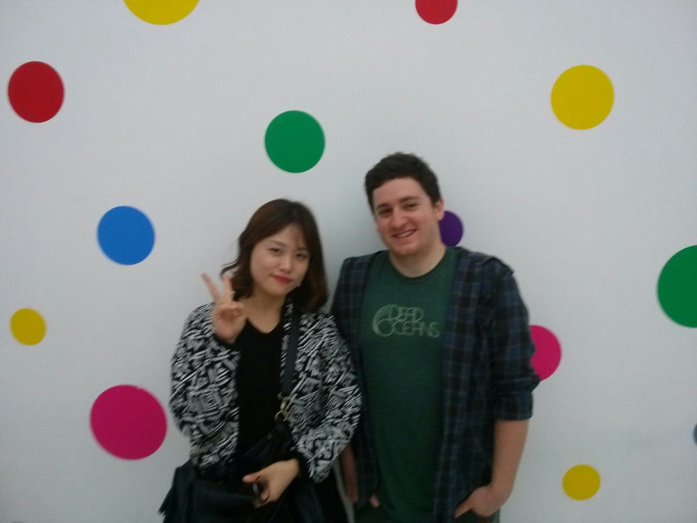 Me and Celine in one of the dot-obsessed installations