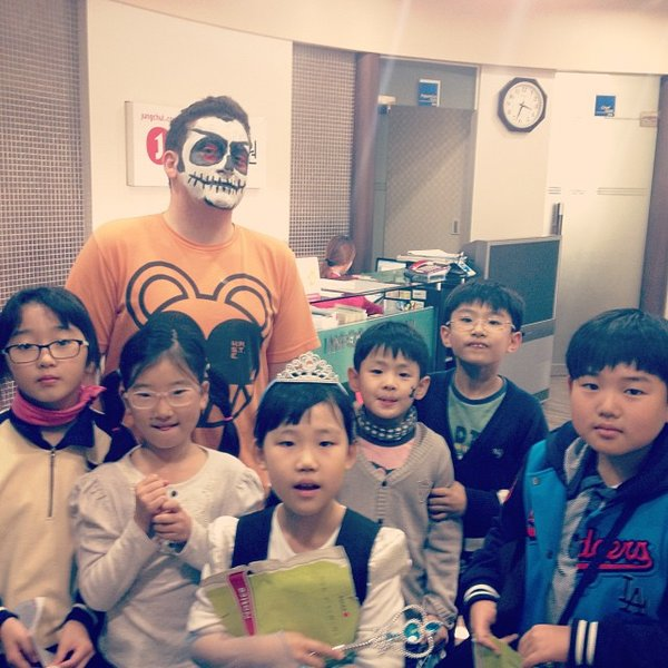 Halloween 2013 at Jung Chul Academy. Me in the background, can't remember the 'names' of all of these kids, but L-R: Annie, Angel, Daisy, ?, Tim, ?