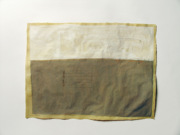 "We had intended if it were a pleasant day to go to the country it was a very beautiful day and we carried out our intention #46 (snow) , 2008. Pencil, gouache, watercolor on handmade paper. 22"" x 30"""
