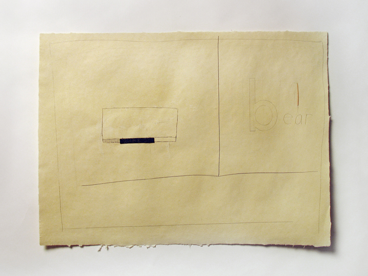 "We had intended if it were a pleasant day to go to the country it was a very beautiful day and we carried out our intention #44 (a bear!) , 2008. Pencil, felt, toothpick on handmade paper. 22"" x 30"""