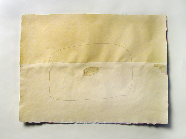 "We had intended if it were a pleasant day to go to the country it was a very beautiful day and we carried out our intention #50 , 2008. Pencil and cut-and-pasted paper on handmade paper. 22"" x 30"""