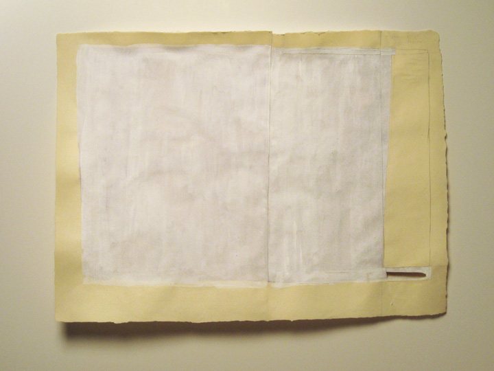 "movements of desire , 2009. Pencil, watercolor, gouache, cut-&-pasted paper on handmade paper. 22"" x 30"""