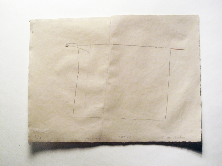 "We carried out our intention , 2006-2011. Pencil, gouache, button, silk thread, toothpick, cut-and-pasted paper on handmade paper. 21.75"" x 29.25"""