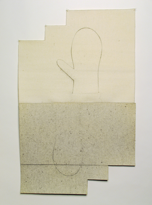"Jack , 2008. Pencil on industrial wool felt hand stitched with silk thread. 38"" x 24"""