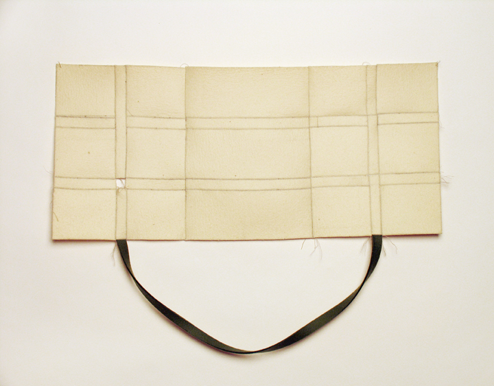 "Opening , 2008. Industrial wool felt hand stitched with silk thread. 20"" x 27"""