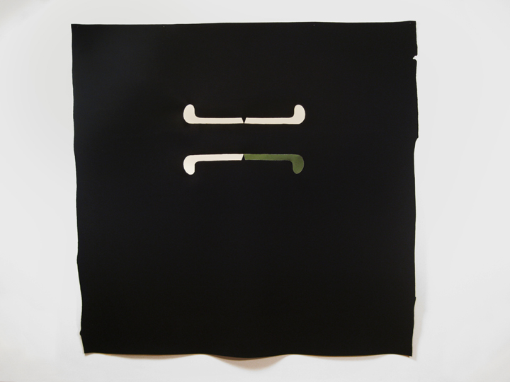 "Polar Bear Pass XII , 2012. Pencil on industrial wool felt hand sewn with silk thread. 73.5"" x 71.5"""