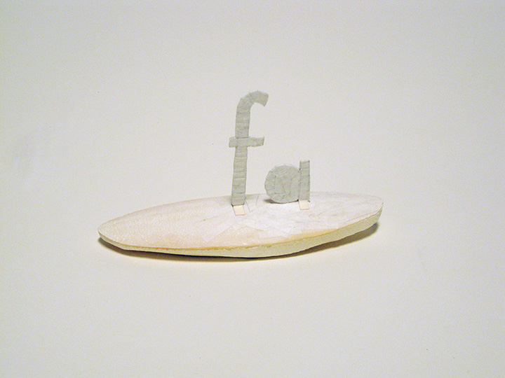 "island fa , 2012. Cuttlebone, archival manila card stock, cut-and-pasted handmade Japanese mending paper. 3.5"" x 6.5"" x 2.5"""