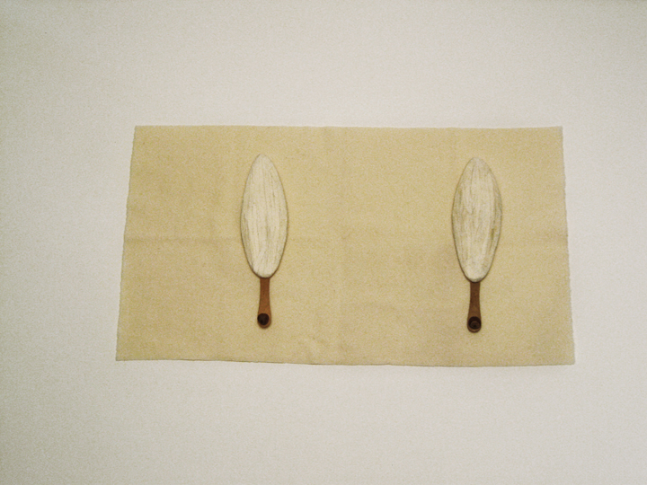 "Cape Farewell II , 2010. Wool felt, cuttlebones, cut-and-pasted handmade Japanese mending paper, wooden ice cream spoons, hazelnuts. .75"" x 21.5"" x 12"""