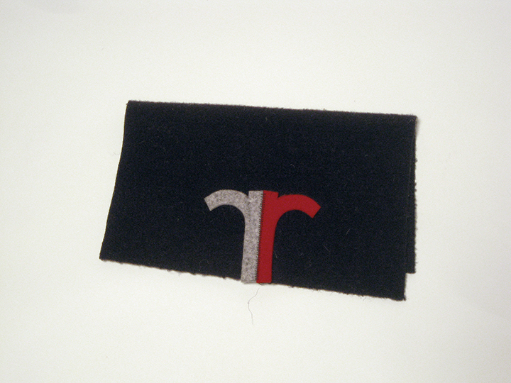 "the Relics 4 / doubled , 2013. Wool felt and industrial wool felt hand stitched with silk thread. .5"" x 6.75"" x 10.5"""