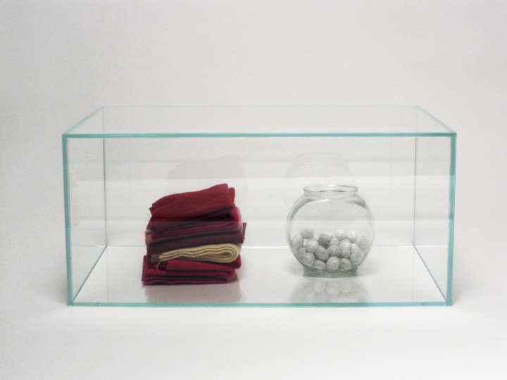 "Museum of Minor Accumulations, Arctic Division , 2010. Wool felt, fishbowl, hazelnuts, cut-and-pasted handmade paper, glass box. 10.25"" x 22.5"" x 15.25"""