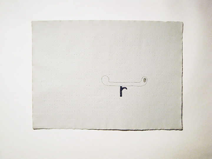 "r/canoe , 2012. Pencil, cut-&-pasted handmade paper on handmade paper. 22"" x 30"""
