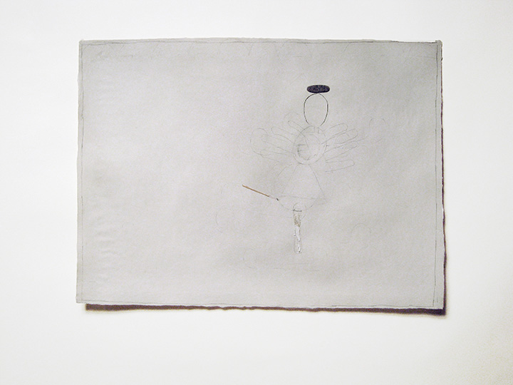 "angel , 2012. Pencil, toothpick, wool felt on handmade paper. 22"" x 30"""