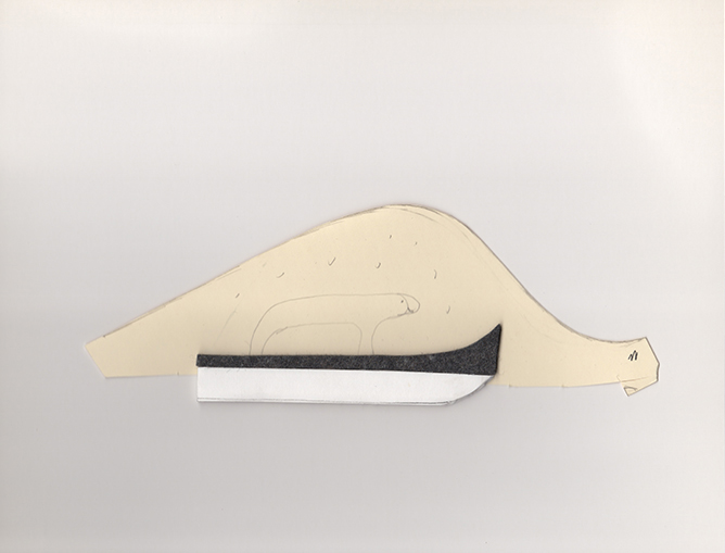 "Polar bear on ski , 2013. Pencil on cut-out manila file folder, archival corrugated cardboard, industrial wool felt. 3"" x 8.75"""