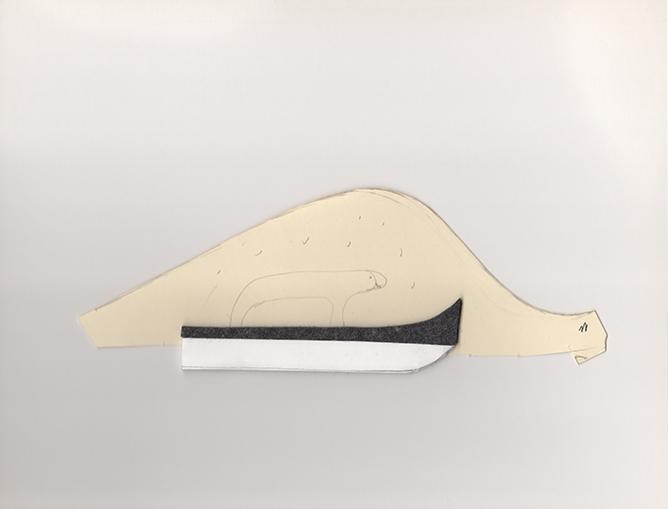 """Polar bear on ski , 2013. Pencil on cut-out manila file folder, archival corrugated cardboard, industrial wool felt. 3"""" x 8.75"""""""