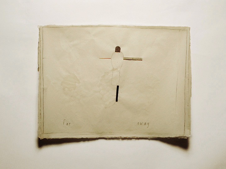 "far away , 2005-2013. Pencil, wool felt, toothpick, silk thread on a double-layer of handmade paper. 22"" x 30"""