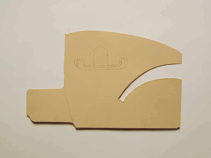 "sled-house , 2012. Pencil on cut-out manila file folder. 7.5"" x 12"""