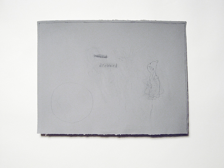 "round/drowned 3 , 2012. Pencil on grey handmade paper. 18"" x 24"""