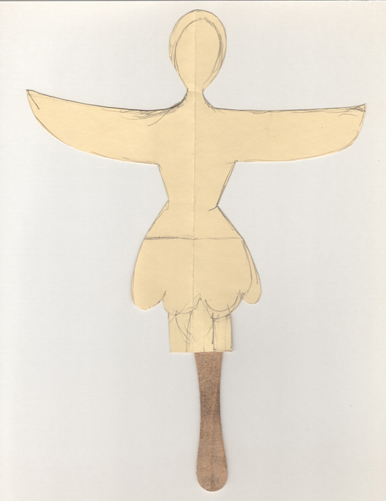 "angel - cut-out , 2002-2012. Pencil on cut-out archival manila file folder with wooden ice cream spoon. 10.25"" x 7.25"""