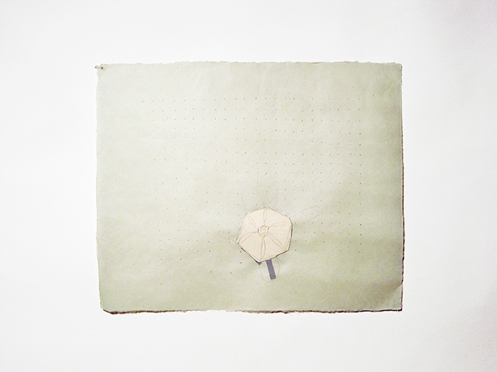 "twinkle green , 2012. Pencil, cut-&-pasted archival file folder, cut-&-pasted handmade paper on green handmade paper. 16.75"" x 20.5"""