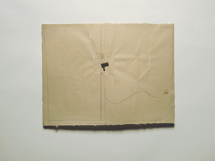 "snake-y , 2005-2012. Pencil, wool felt, cut-and-pasted paper on handmade paper. 18"" x 24"""