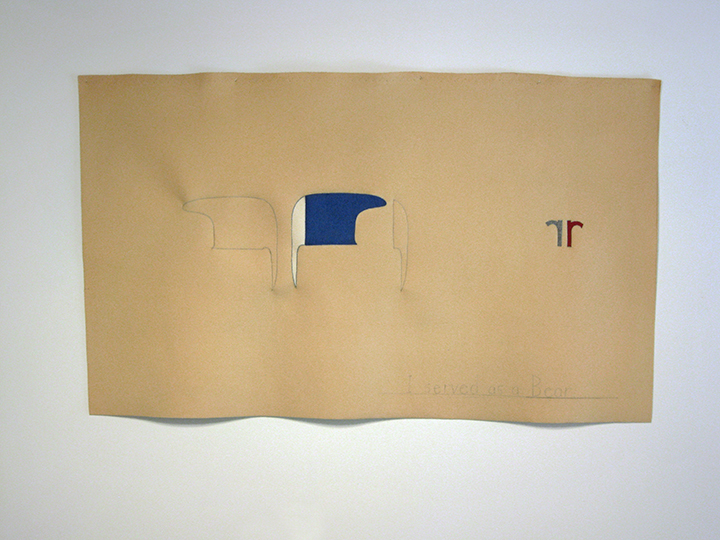 "Banner for the Arctic Spring II (I served as a bear) , 2013. Industrial wool felt hand sewn with silk thread. 41"" x 69"""
