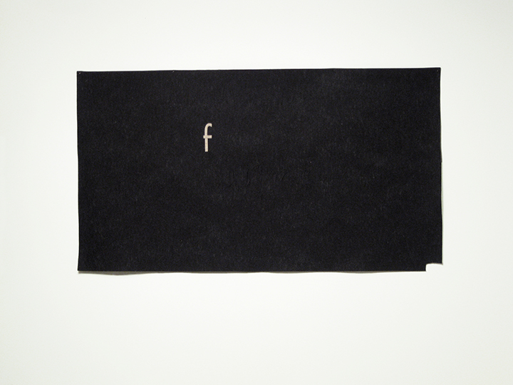 "the failed utopian III (failed black),    2014. Industrial wool felt hand stitched with silk thread. 40"" x 72.25"""
