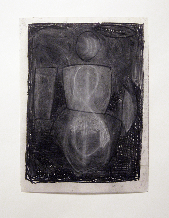 "Grey Figure   , 1982. Charcoal and pastel on rag paper. 30"" x 22"