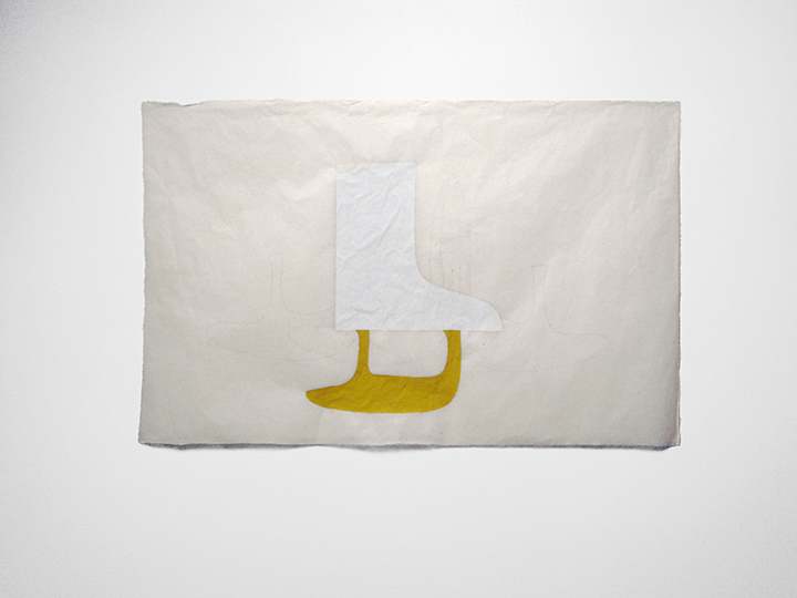 "the failed utopian XVII (white/yellow) , 2014. Pencil and gouache on Japanese handmade paper. 25"" x 39"""