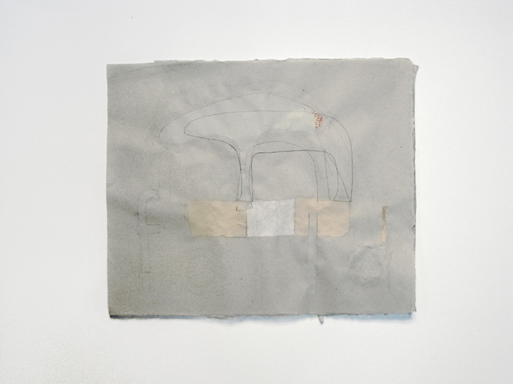 "the failed utopian XIX (band-aid) , 2015. Pencil, colored pencil, cut-and-pasted paper, silk thread on a double layer of green Japanese handmade mending paper. 17"" x 20.75"""