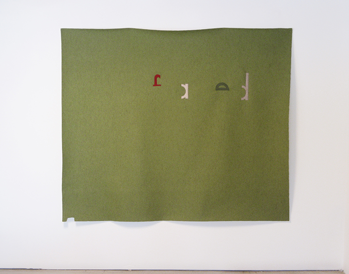 "the failed utopian XX_(yellow/green) , 2015. Industrial wool felt hand stitched with silk thread. 61.5"" X 72"""
