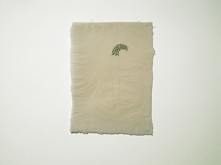 "f / small , 2015. Pencil and silk thread on a double layer of handmade paper. 13"" x 10"""