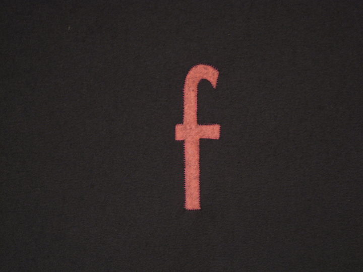 "the failed utopian XXV (f in rose) , 2015 - Detail. Industrial wool felt hand stitched with silk thread. 40.25"" x 72.25"""