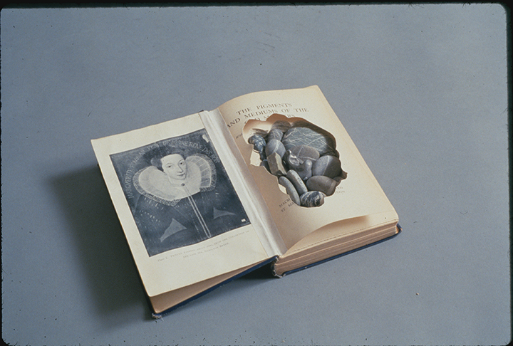 "Black Sea , 1990. Altered book, stones from the Black Sea, linen tape. 1.25"" x 8.75"" x 11"" (open)"