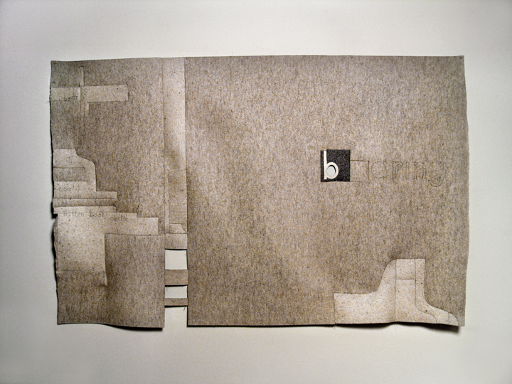 "Playing the Bear , 2009. Industrial wool felt hand stitched with silk thread and pencil. 51"" x 79.5"""