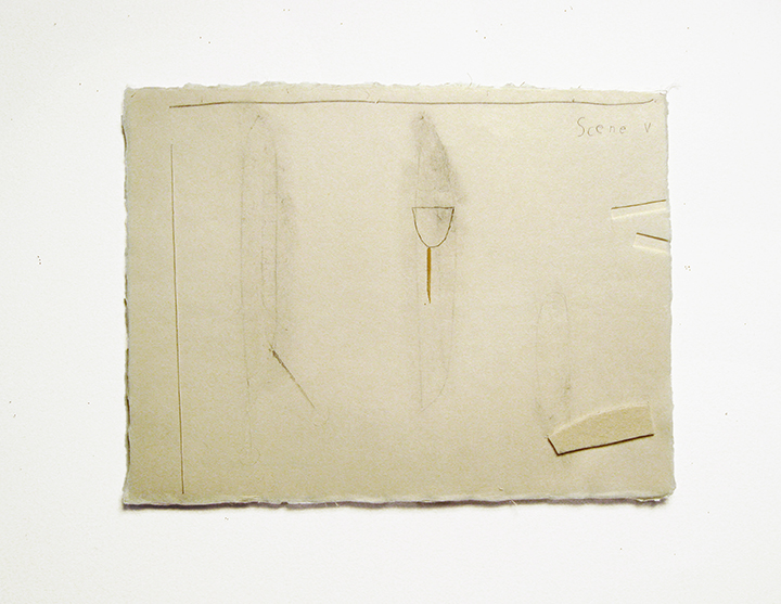 "Scene V , 2002-2004. Pencil, silk thread, wool felt, toothpick on a double-layer of Japanese handmade paper. 12.25"" x 16"""