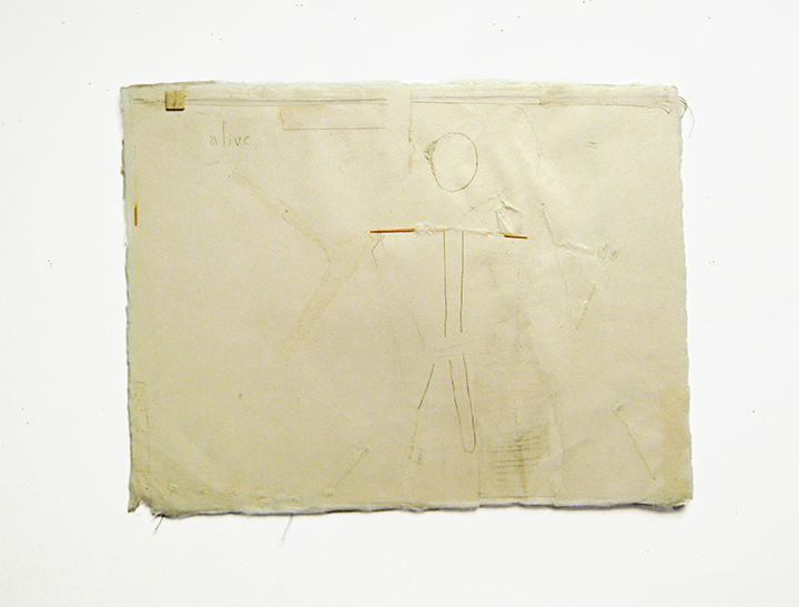 "alive , 2003-2004. Pencil, silk thread, wool felt, toothpick on a double-layer of Japanese handmade paper. 12.25"" x 16"""