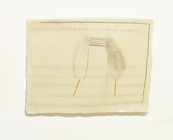 "Once in a while , 2003-2004. Pencil, silk thread, toothpicks on a double-layer of Japanese handmade paper. 12.25"" x 16"""