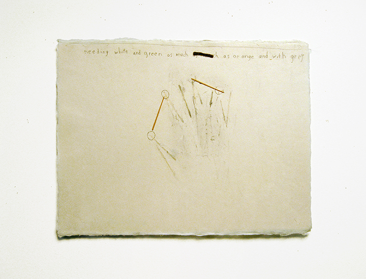 "needing white and green as much as orange and with grey,  2003-2004. Pencil, silk thread, wool felt, toothpicks on a double-layer of Japanese handmade paper. 12.25"" x 16"""