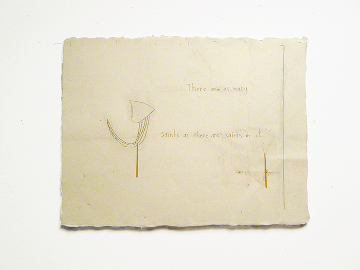 "There are as many saints as there are saints in it , 2002-2004. Pencil, silk thread, toothpicks on a double-layer of Japanese handmade paper. 12.25"" x 16"""