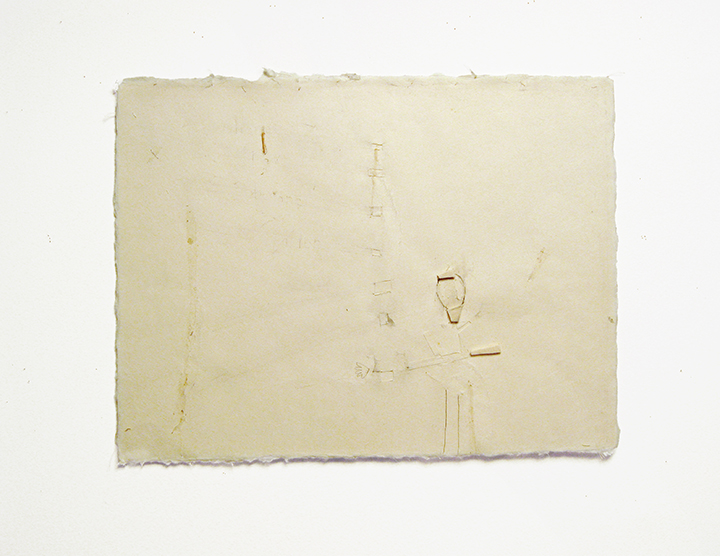"herenowbeforeafter , 2002-2004. Pencil, silk thread, wool felt, toothpick on a double-layer of Japanese handmade paper. 12.25"" x 16"""