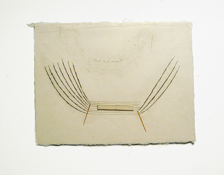 "Once in a minute , 2002-2005. Pencil, silk thread, wool felt, toothpicks on a double-layer of Japanese handmade paper. 12.25"" x 16"""