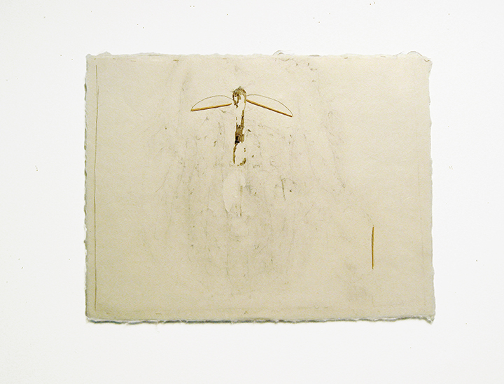 "Rising , 2002. Pencil, silk thread, toothpicks on a double-layer of Japanese handmade paper. 12.25"" x 16"""