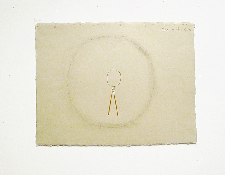 "One in the sun , 2002-2004. Pencil, silk thread, toothpicks on a double-layer of Japanese handmade paper. 12.25"" x 16"""