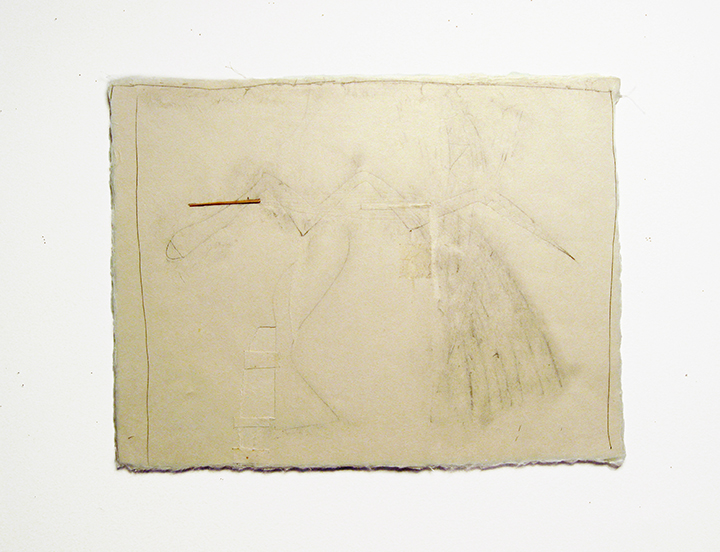 "Serpent , 2002-2005. Pencil, silk thread, toothpick on a double-layer of Japanese handmade paper. 12.25"" x 16"""